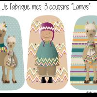 Kit 3 coussins lamas