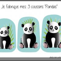 Kit 3 coussins pandas